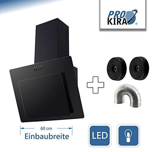 PROKIRA DH60GB-02 Kopffreihaube Wandhaube Schräghaube Dunstabzugshaube Abluft Umluft Haube Schwarz LED Glas 60cm