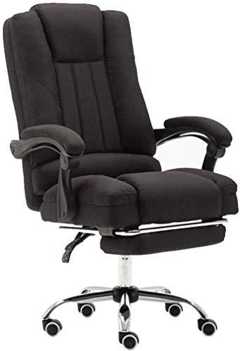 Zwarte bureaustoel met hoge rugleuning en voetensteun, kantelfunctie, directie-swivel computerstoel, linnenweefsel