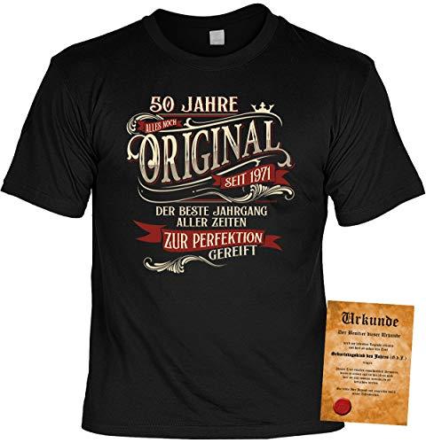 T-Shirt 50 Geburtstag - Geburtstagsshirt Sprüche Jahrgang 1971 : 50 Jahre Alles noch Original seit 1971 - Geschenk-Shirt zum 50.Geburtstag Frau/Mann + lustige Urkunde Gr: L