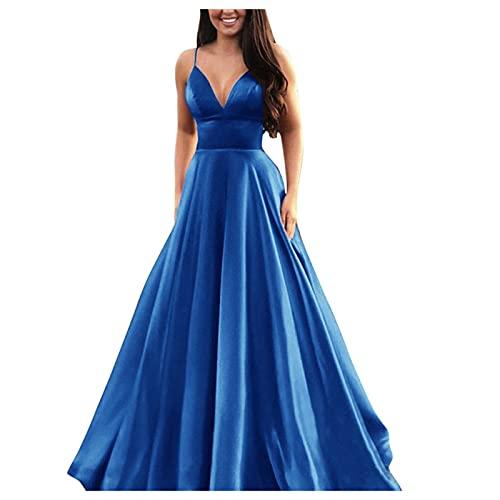 Vestido de novia de línea A, de encaje, cuello en V, largo de baile y baile de graduación, de gasa, de fiesta, con flores, vestido de cóctel #03_azul M