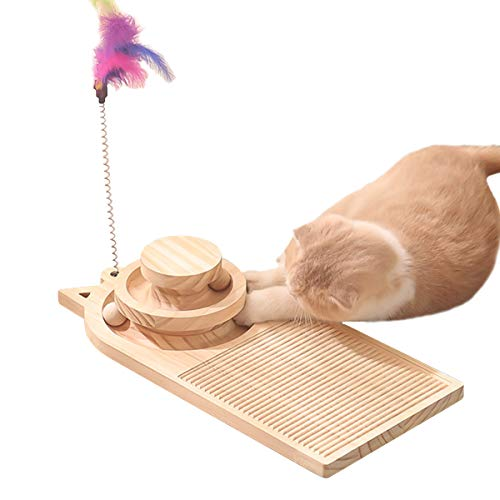 ZUKIBO Wooden Cat Scratching Turntable Post with 360° Rotating Interactive Balls and Cat Feather Toy, Pet Cat 3 Levels Towers Tracks Roller Ball Toy