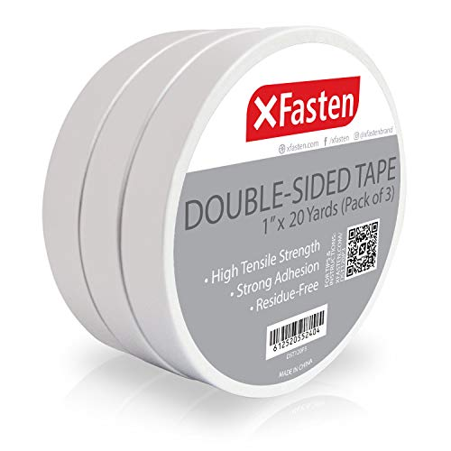 XFasten Double Sided Tape, Removable, 1-Inch by 20-Yard (Pack of 3) Ideal as a Gift Wrap Tape, Holding Carpets, and Woodworking
