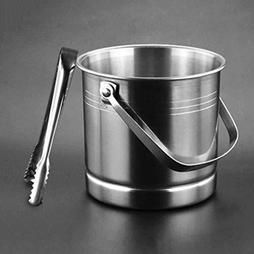 MSLD 1L Barra de hielo Cubo de hielo Acero inoxidable Cubo de champán Cubo de vino Recipiente de barril con tapa y pinza para suministros de barras de clubes