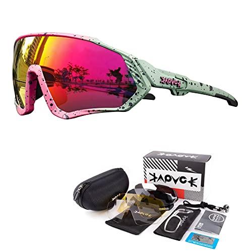 KAPVOE Gafas de Ciclismo Polarizadas con 5 Lentes Intercambiables para Hombres Mujeres Pantalla Completa TR90 Gafas de Sol Ligeras para Ciclismo Deportivo MTB 10