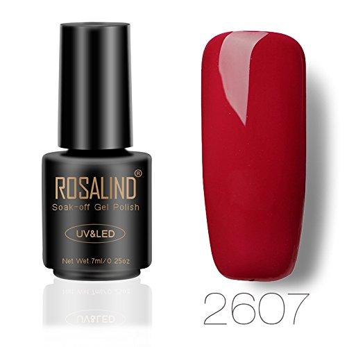 ROSALIND Weinrot UV Gel Nagellack Langanhaltende Maniküre Pediküre Top Base Coat Erforderlich 7ML