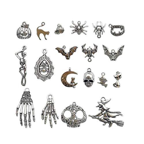 PRETYZOOM - 50 colgantes de calavera mixta para Halloween, joyas antiguas para Halloween, tema de Halloween, para la colección DIY (plata)