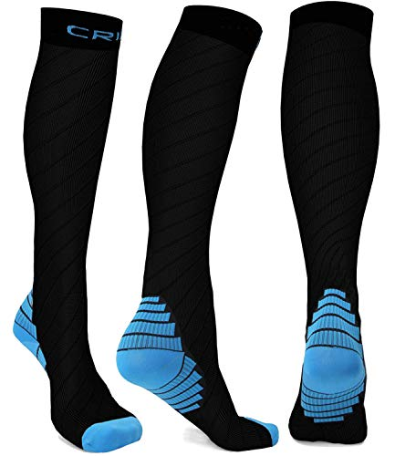 Compression Socks Men Women Stockings,20-30mmhg Knee High Thick Black Sports Running Sock-Support Hose Circulation Recovery,Relief Calves Foot Pain for Athletic Pregnancy Travel Nursing Flying