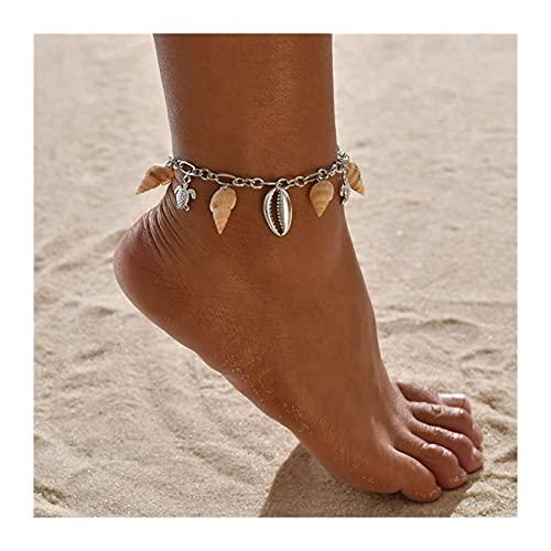HETHYAN Tobilleras de cuerda de concha bohemia para mujer, tobillera de playa descalzo, pulsera de tobillo y cadena de pies (color de metal: estilo H)
