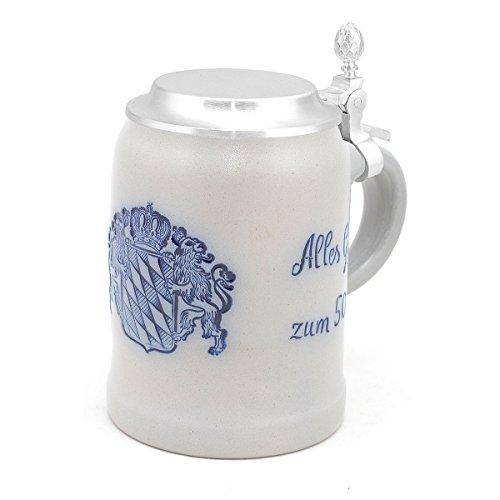 Bavariashop Steinkrug mit Zinndeckel individuell mit Wunschtext, Gravur Bierkrug personalisiert, bayerische Geschenkidee zum Geburtstag oder Jubiläum