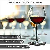 DINING concept I Filz Glasuntersetzer rund 10er Set mit Box & GRATIS Handy Filzuntersetzer I Premium Filz Untersetzer Gläser abwaschbar I Design Tassen Untersetzer Glas Filz Bierdeckel dunkelgrau - 4