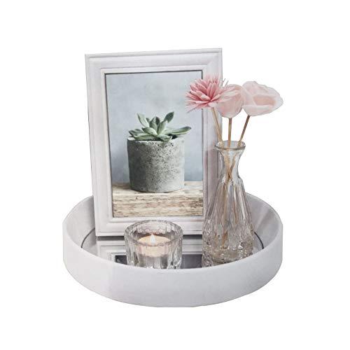 HTI-Line Deko-Tablett Viola Dekoration Spiegel Bilderrahmen Vase Teelichthalter Teelichtglas