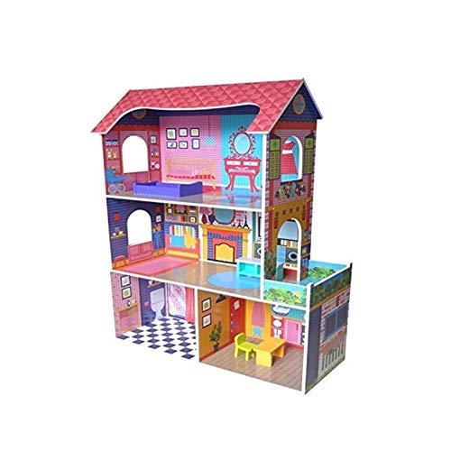 N/Z Wohnausstattung Puppenhausmodell Großes Holzpuppenhaus mit Möbeln 3D Puzzle Hausmodell für Kinder Dekoratives Miniaturpuppenhausmodell (Farbe: Pink Größe: 75 mal; 34 mal; 105 cm)