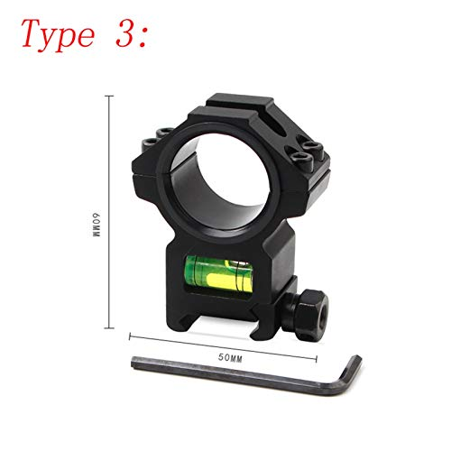 YMH Ymhan2014 24.5mm / 25.4mm / 30 mm Anillo Caza Integral Ámbito AR15 AK 47 Soporte Vista óptica con indicador de ángulo de Nivel de Burbuja Picatinny Rail (Color : Type 3)