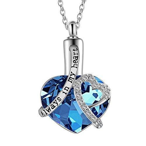 WSXEDC Collar De Cenizas,Urna De Cremación Joyería Circonita Azul En Forma De Corazón Colgante Cenizas O Muestra De Cabello Soporte De Recuerdo Medallón Conmemorativo para Unisex