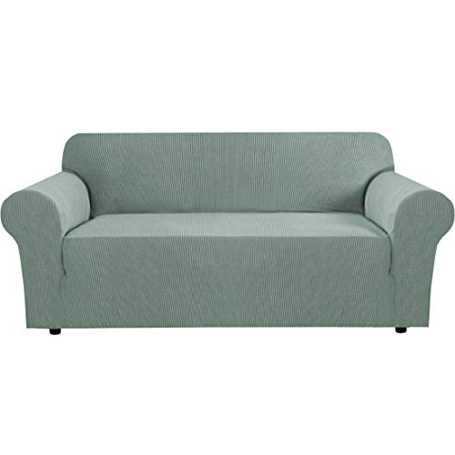 BellaHills Fundas de sofá elásticas Fundas de sofá de 3 plazas para Sala de Estar Fundas de sofá Fundas con Fondo elástico, Tela Jacquard Gruesa Suave Lavable (sofá de 3 plazas, Salvia)
