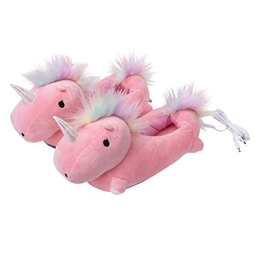 SMOKO Beheizbare Einhorn Hausschuhe, Farbe Pink, Einheitsgröße, USB Anschluss