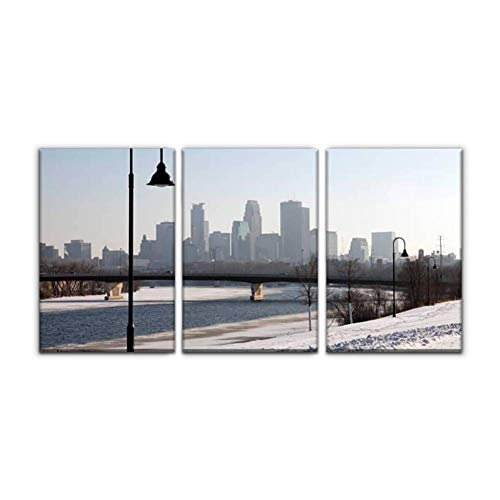 Modern Canvas Painting minneapolis skyline in winter mississippi river arounds and pictures Wall Art Artwork Decor Printed Oil Painting Landscape Home Office Bedroom Framed Decor (16'x24'x3pcs)