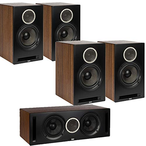 New ELAC Debut Reference DB62 5.0 Channel Bookshelf Surround Sound Home Theater System - Black/Walnu...
