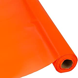 Plastic Party Banquet Table Cover Roll - 300 ft. x 40 in. - Disposable Tablecloth (Orange / Tangerine)