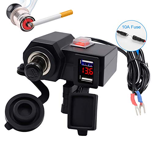 TR Turn Raise 5V/2.4A Caricatore Doppio USB + Accendisigari 12V + Display Volmetro con 1,5m Cavo di Prolunga e Accendi/Spegni per Moto ATV