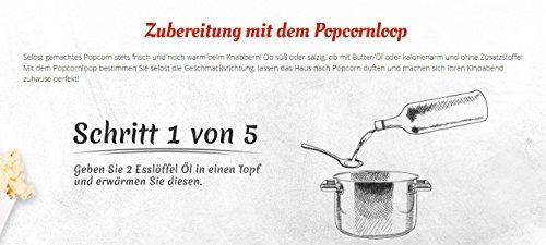 Popcornloop Heimkino-Set inkl. Rührstab, 1x Ersatzhaube, 1x Premium Popcorn Mais 500g - 4