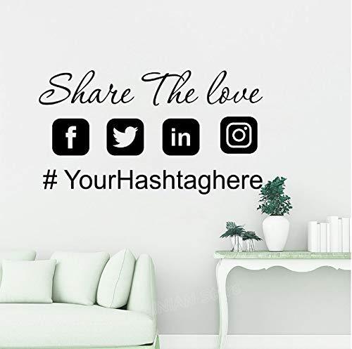 Aangepaste hashtag naam Social Media auto bruiloft raam sticker kunst, gepersonaliseerde Instagram Snapchat Twitter Facebook Vinyl 45 * 25 cm