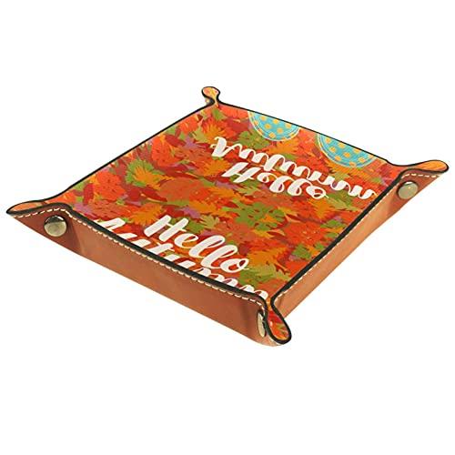Leder Valet Tray, Würfel Tray Folding Square Holder, Kommode Organizer Platte für Wechsel Münzschlüssel Ahorn Blätter Muster