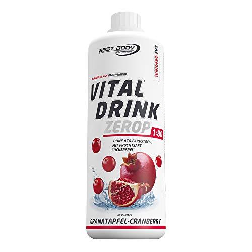 Best Body Nutrition Vital Drink ZEROP - Granatapfel-Cranberry, zuckerfreies Getränkekonzentrat, 1:80 ergibt 80 Liter Fertiggetränk, 1000 ml