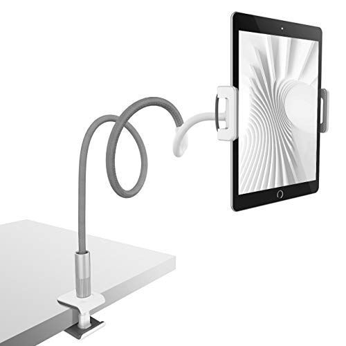 Gooseneck Tablet Holder, Lamicall Tablet Stand: Flexible Arm Clip Tablet Mount Compatible with iPad Mini Pro Air, Nintendo Switch, Samsung Galaxy Tabs, More 4.7-10.5' Devices - Gray