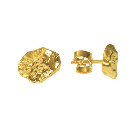 Nugget Ohrstecker hochwertige Goldschmiedearbeit aus Deutschland (Sterling Silber 925 vergoldet) Damen Ohrstecker Ohrringe