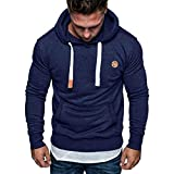 Mens Bandage Hoodie, Men's Fashion Cool Drawstring Vintage Leather Patchwork Long Sleeve Hooded Tops Blouses
