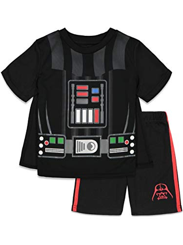 Disney Star Wars Darth Vader Toddler Boys Costume Caped T-Shirt and Shorts Set Black 4T