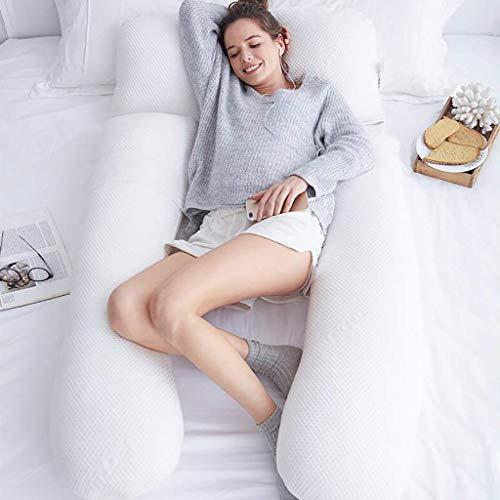 Seitenschl/äferkissen Grau, 140 x 70 cm Stillkissen mit Abnehmbarem und Waschbarem Pl/üsch Bezug SALAD HOUSE C-f/örmiges Schwangerschaftskissen