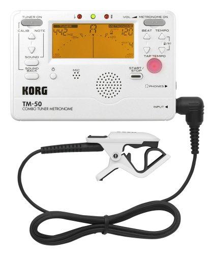 KORG TM-50C - Accordatore cromatico con metronomo e microfono a contatto, colore: Bianco