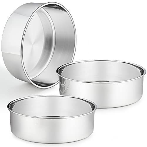 3 Pcs Deep Cake Pan Set (8'' x 3''), P&P CHEF 8 Inch Stainless Steel Round Baking Pans, for Birthday Wedding Christmas, Healthy & Durable, Deep Side & Mirror Finish, Oven & Dishwasher Safe