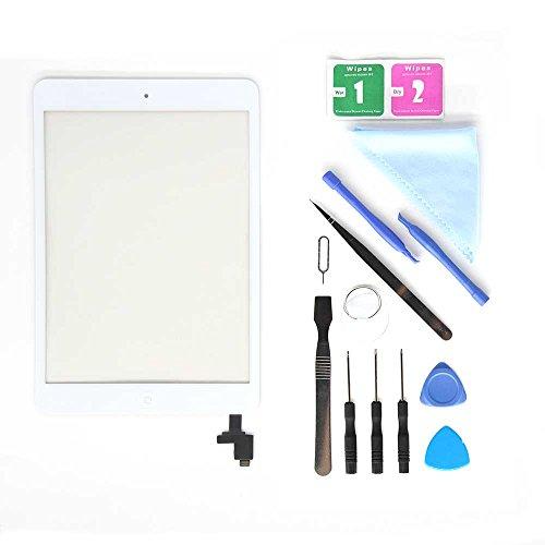 E Soul Pad Mini 1 & 2 digitalizador de pantalla táctil de repuesto para lente de cristal, color blanco, incluye chip IC + adhesivo preinstalado + kit de herramientas