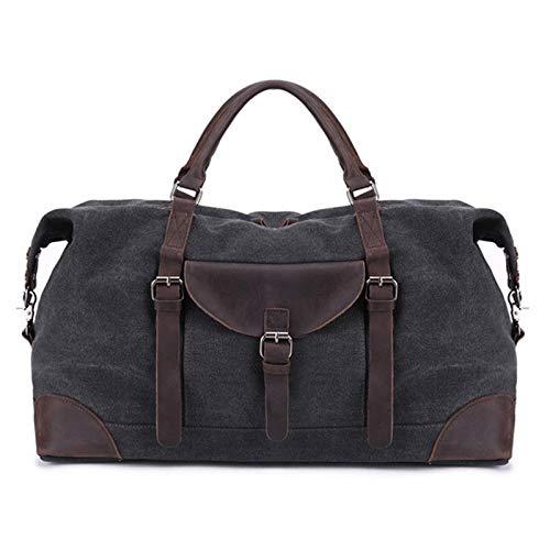 Gym Sports Duffle Bag Canvas Travel Bag Capacity Single Shoulder Men's Bag Travel Sports Holdall Portable and Durable (Color : Black, Size : 55x28x29cm)