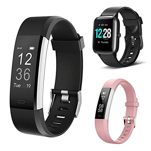 LETSCOM Fitness Tracker ID115Plus HR,Bundle with Smart Watch ID205L and Fitness Tracker ID115UHR(3 Items)