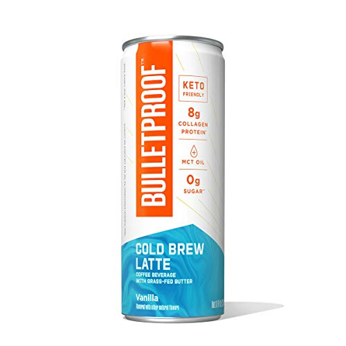 Bulletproof Vanilla Latte Cold Brew Coffee Plus Collagen Protein, Keto Friendly with Brain Octane C8 MCT Oil and Grass Fed Butter, Sugar Free, Vanilla Latte, 12 Pack