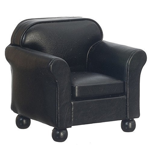 Melody Jane Cuir Noir Fauteuil Club Chaise Miniature Living Room Furniture
