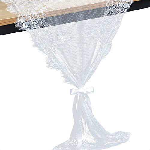 teng hong hui 55x300cm Blume Spitze Tischläufer Weiße Tabelle 55x300cm Tischläufer Flagge mit Wimpernkante für Hochzeitsdekoration Geschenk Bogen Farbband