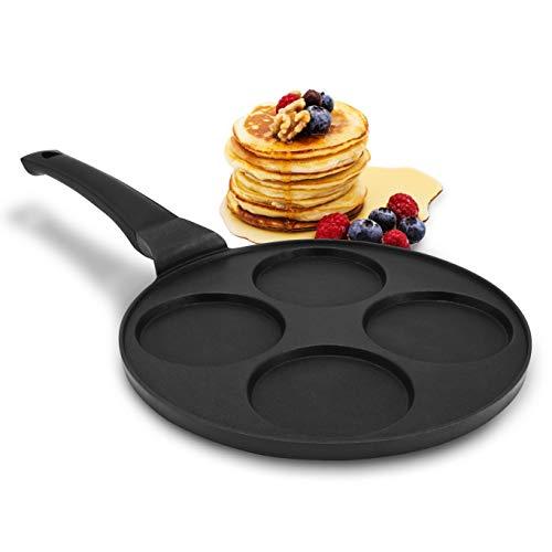 endusor Pancake Pfanne Spiegeleipfanne - Ø26cm mit [PowerShield]-Beschichtung   Induktion Ceran Gas Elektro   4x Form Maker Eierpfanne für Pancakes Spiegelei Liwanzen Poffertjes Blinis   Jetzt ansehen