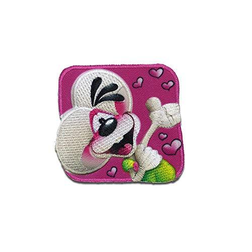Diddl Maus Herz Cartoon - Aufnäher, Bügelbild, Aufbügler, Applikationen, Patches, Flicken, zum aufbügeln, Größe: 5,9 x 5,8 cm