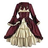 Zylione Damen Lolita Kleid Partykleid Vintage Mittelalter Kleider Adels Prinzessin Kleid Cosplay Kostüm Langarm Gothic Palast Partykleid...