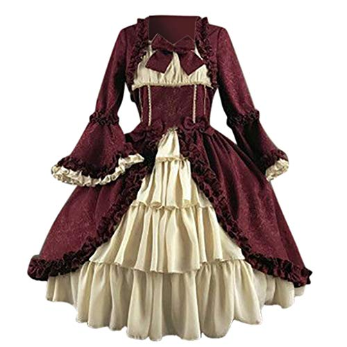 Learn More About Sikye Dress Renaissance Women Medieval Gothic Cosplay Costume Satin Flounces 1950 P...