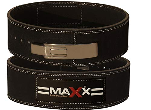 Maxx Leather Weight Lifting Belt Bodybuilding Gym Powerlifting Gym Metal Lever Black M 32 36
