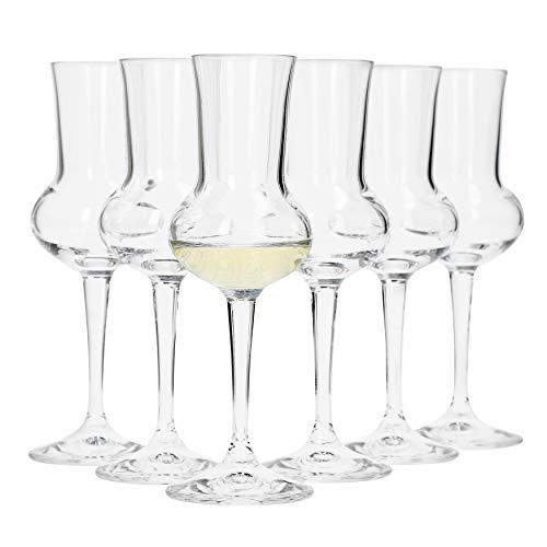 Bormioli, Set da 6 Bicchieri da Grappa, capacità di 75ml, Altezza Totale del Bicchiere di 16,5cm, Lunghezza del Manico di 5,8cm