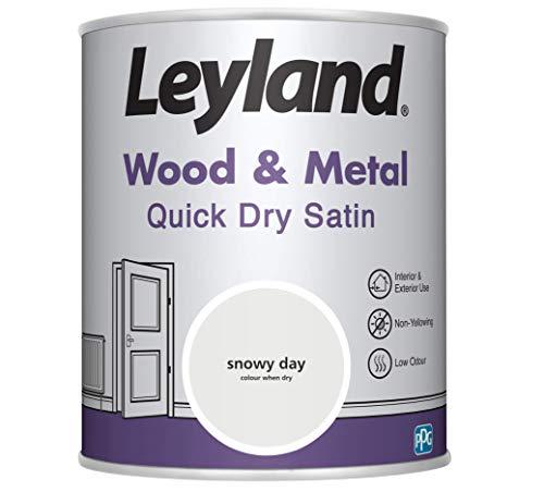 Leyland 423436 Wood & Metal Quick Dry Holz und Metall, schnell trocknend, Satin, weiß, 0.75 Liters