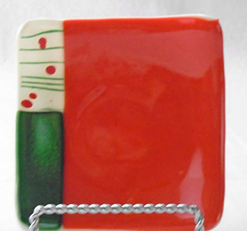 Red Green White Catchall Trinket Dish Candle Holder Handcrafted Fused Glass