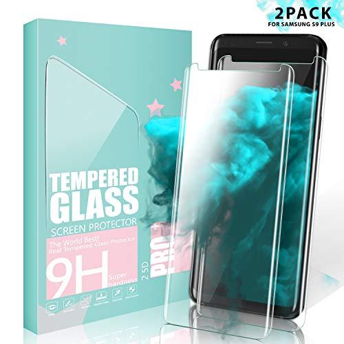 SGIN Galaxy S9 Plus Vetro Temperato, [2 Pack] Pellicola Protettiva Schermo Vetro Temperato, Infrangibile, Senza Bolle, Anti-Impronte, Anti Graffi, per Samsung Galaxy S9 Plus - Trasparente